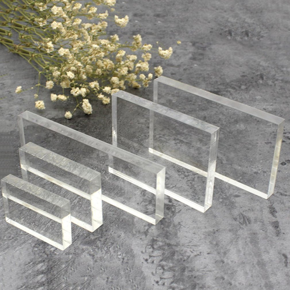 Lightweight Transparent Acrylic Stamp Block Rectangular Shape DIY Scrapbooking Color Process Stamp Block Tools