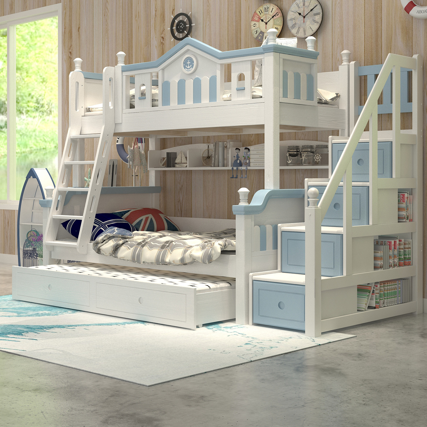 Solid Wood Children Bunk Bed Height-adjustable Bed Multi-functional Combination Double Layer Bunk Bed Boys And Girls Bed Blue Be