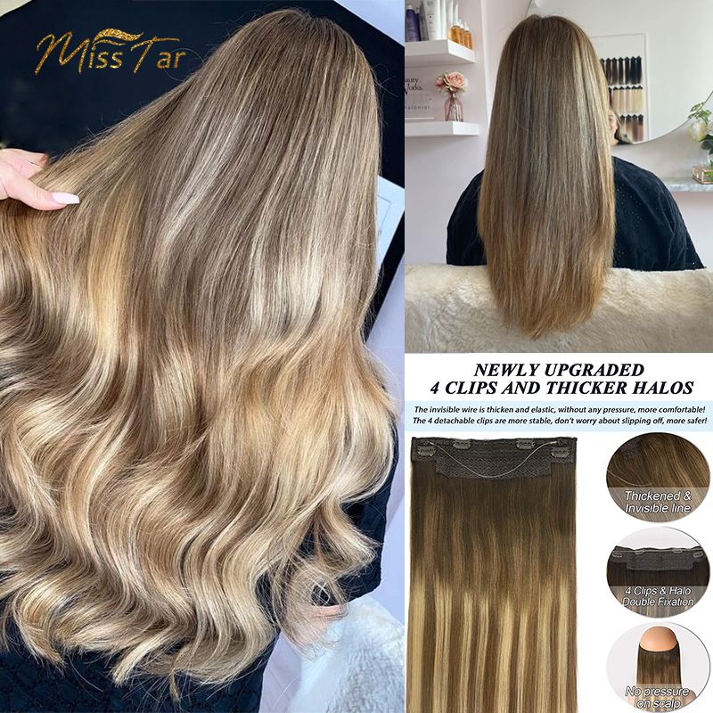 Hair Extension Human Hair Straight Remy Hair Extensions With Natural Wire Line Highlight Ombre Hair Extensions Honey Blonde Hair