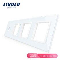 Livolo Luxury Crystal Glass Switch Panel, 294mm*80mm,EU standard,Quadruple Glass Panel ,DIY by yourself,4colors free choose