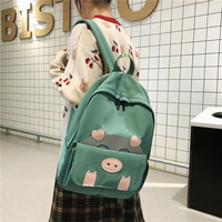 Backpack Women New Hot Fashion Pig Shoulder Bags Casual Preppy Style Cute Canvas School Backpacks for Teenager Girls