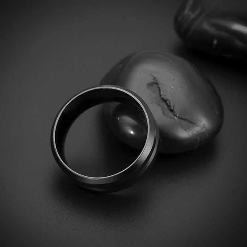 Moda męska biżuteria pierścionek ze stali nierdzewnej biżuteria wolframu pierścień mężczyźni czarny Vintage Punk Trendy Party metalowe pierścionki