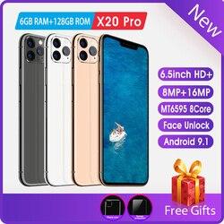 Handy 6,5 zoll HD screen Android telefon FaceID 8MP  16MP 6 GRAMM  128ROM Kostenloser versand auf günstige handys smartphone