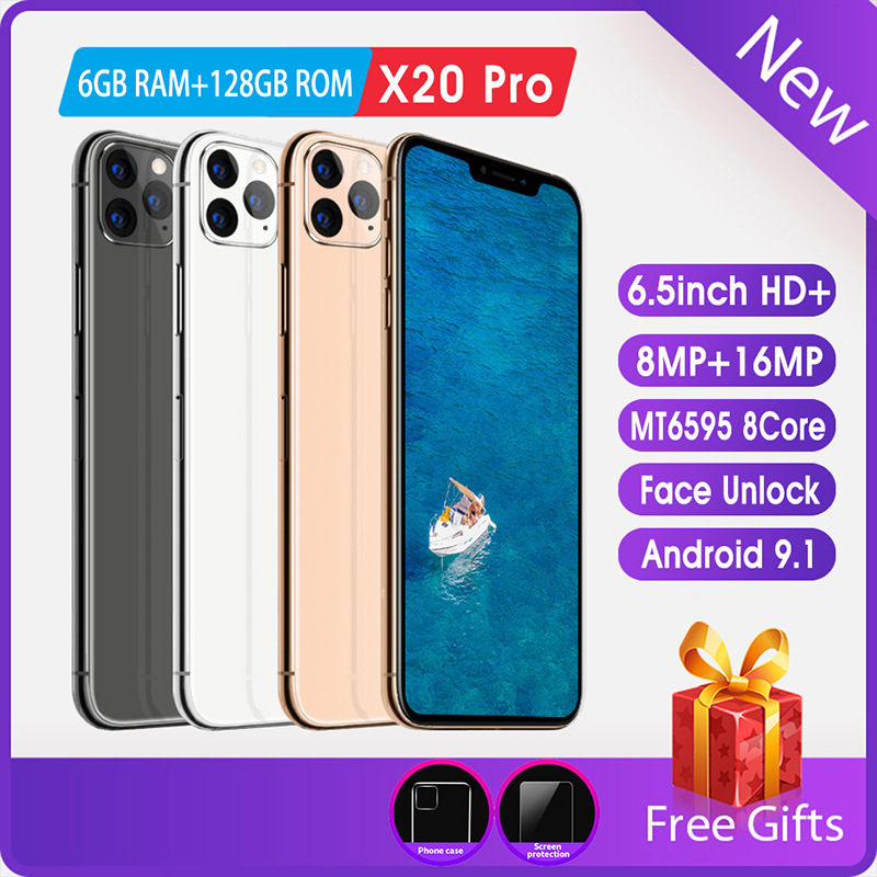 Mobile Phone 6.5 Inch HD Screen Android Phone FaceID 8MP + 16MP 6GRAM + 128ROM Free Shipping On Cheap Phones Smartphone