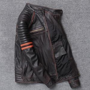 Image 5 - YR!Free shipping.Wholesales.Street Hot motor biker genuine leather jacket.skull printing cowhide coat.vintage slim jackets