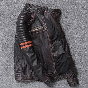 Image 5 - YR! gratis verzending. groothandel. straat Hot motor biker echt lederen jas. schedel afdrukken koeienhuid jas. vintage slanke jassen