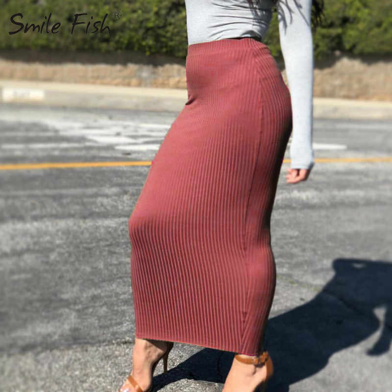 Casual Winter Autumn Women's Skirt Knitting Cotton Long Skirt Elegant Office Chic Bodycon Streetwear Sheath Pencil Skirts
