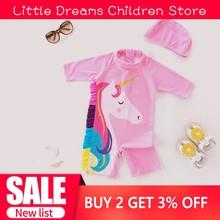 Одежда для купания для маленьких девочек, костюм для серфинга с единорогом, купальный костюм, 9 months to 6 years Old, розовый, 3D, жабо, грива, фламинго, осьминог, детская одежда для купания с защитой от ультрафиолета