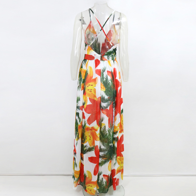 Tobinoone Backless Dress Spaghetti Strap Vintage Dress Women V Neck Floral Print Sleeveless Maxi Dress Streetwear Vestidos 6