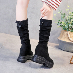 Image 4 - SWYIVY Chaussure Femme Mid Calf Wedge Shoes Woman 2019 Slim Womens Winter Shoes Slip On Platform Boots Ladies Flock Woman Boots