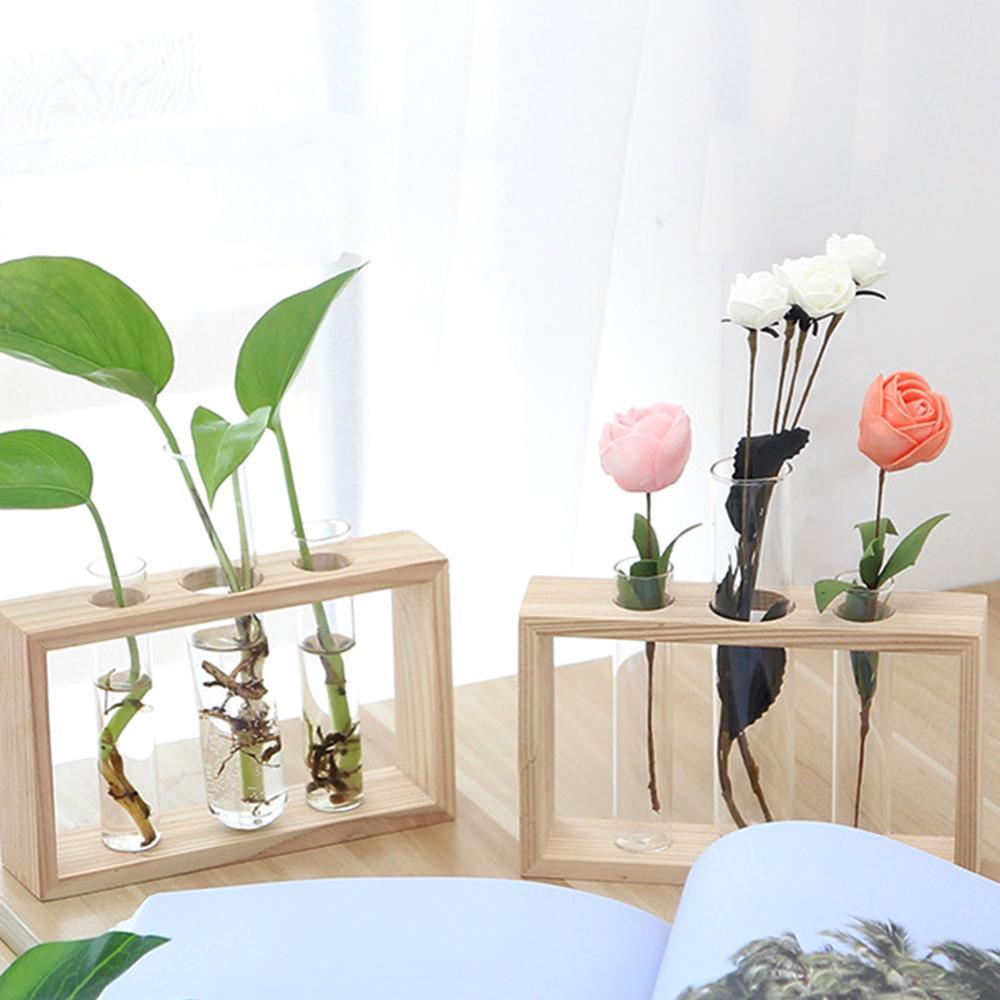 Terrarium Hydroponic Plant Vases Vintage Flower Pot Transparent Wooden Glass Flower Vase Tabletop Plants Home Bonsai Decor