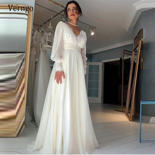 Wedding-Dresses Long-Sleeves Verngo Vintage Puff Lace A-Line Chiffon Floor-Length Elegant