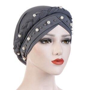 Head Scarf for muslim women solid cotton turban bonnet hijab Caps white pearl Inner hijabs femme musulman arab wrap turbantes