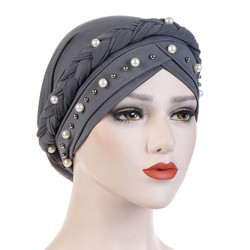 Hoofd Sjaal Voor Moslim Vrouwen Solid Katoen Tulband Motorkap Hijab Caps Wit Pearl Inner Hijaabs Femme Musulman Arabische Wrap Turbantes