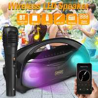 LED Light Portable 10W bluetooth 5.0 Speaker Loudspeaker FM Radio Soundbar Subwoofer Wireless Speaker microphone System Karaoke