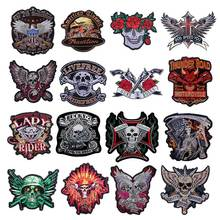 Rose Skull Large Patch Embroidered Patches For Clothes Stickers Stripes Motorcycle Biker Letter Applique