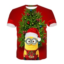 Summer T shirt shirt minions version Christmas tree new T shirt boys and girls 3D T shirt Christmas tree T shirt boys and girls british style old tree and single wolf pattern t shirt for men m