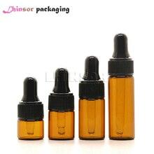 100pcs/lot 1ml 2ml 3ml 5ml  Amber Glass Bottle Perfume Doterra Essential Oil Bottles Jars Vials Bottle with Glass Eye Dropper