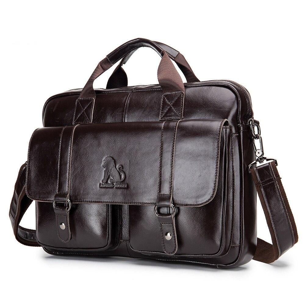 100% Cow Genuine Leather Business Men's Briefcase Male Shoulder Bag Real Leather Men Messenger Bag Tote Computer Bag New Luxury