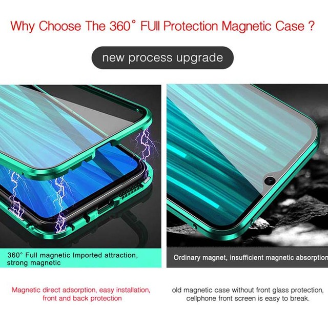 Double Sided Glass Metal Magnetic Case For Xiaomi Redmi Note 9s 8 7 K20 K30 Pro 8 8A Mi 9T 10 Pro 360 Full Protection Flip Cover