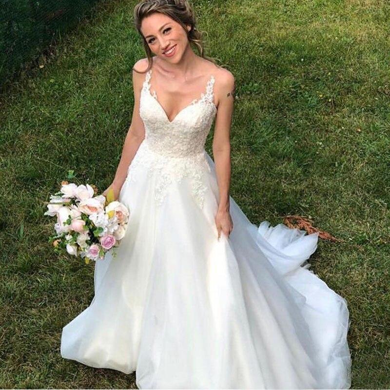 Sexy Tulle Lace Appliques V Neck Wedding Dress Floor-Length A-line Wedding Dress Chapel Train Custom Made Vestidos De Novia