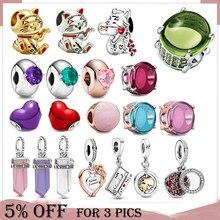 2021 ко Дню Святого Валентина 925 стерлингового серебра, расшиты разноцветными бусинами и коллекция, очаровательные, подходят к оригиналу Pandora,...