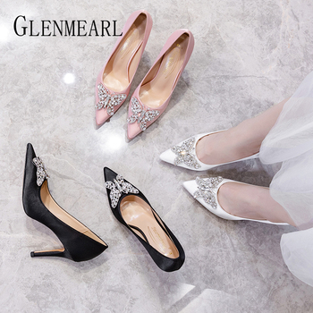 Women High Heels Silk Pumps Woman Shoes Butterfly Metal Decoration Branded Summer Luxury Microfiber Party Wedding Shoes 2020 New fedonas women pumps 10 5cm thin high heel summer velvet butterfly knot wedding party shoes woman fashion elegant buckles shoes