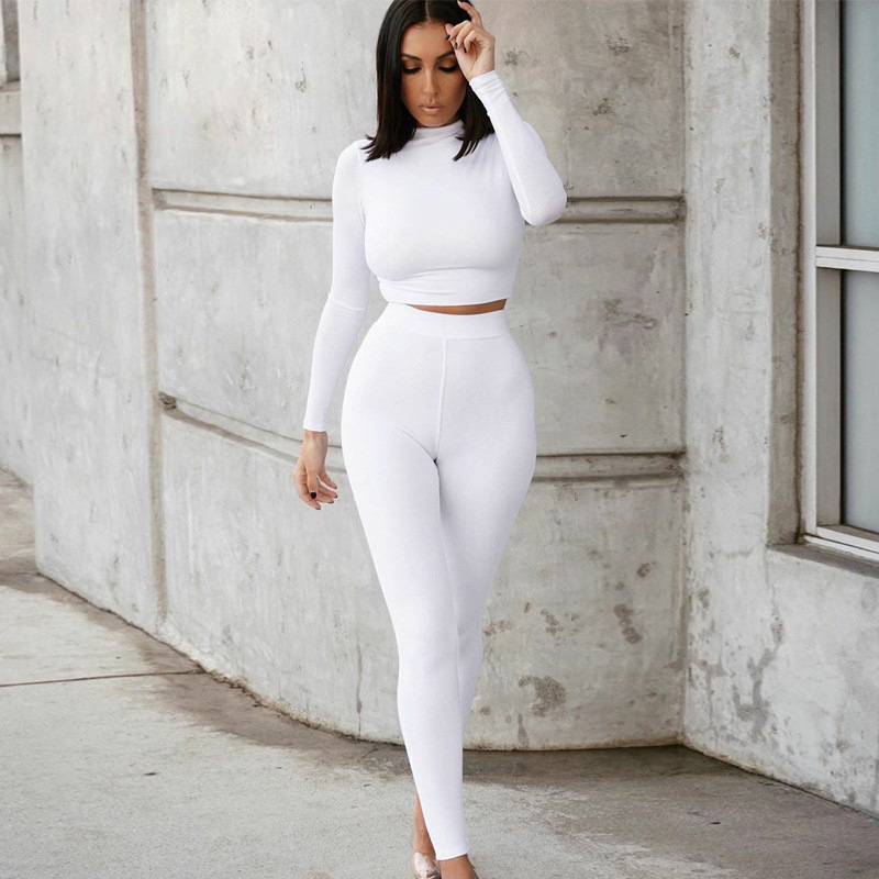 2020 Winter Women Sport Fitness 2 Two Piece Set Outfits Long Sleeve Crop Tops Tshirt Leggings Pants Set Bodycon Tracksuit 5