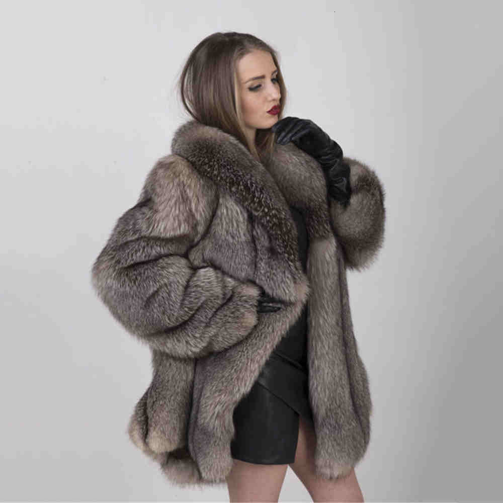 FURSARCAR Natural Real Fox Fur Coat Winter Jacket Outerwear Long Sleeve Fur Coats For Women Real Jacket Thicken Warm Fur Coat
