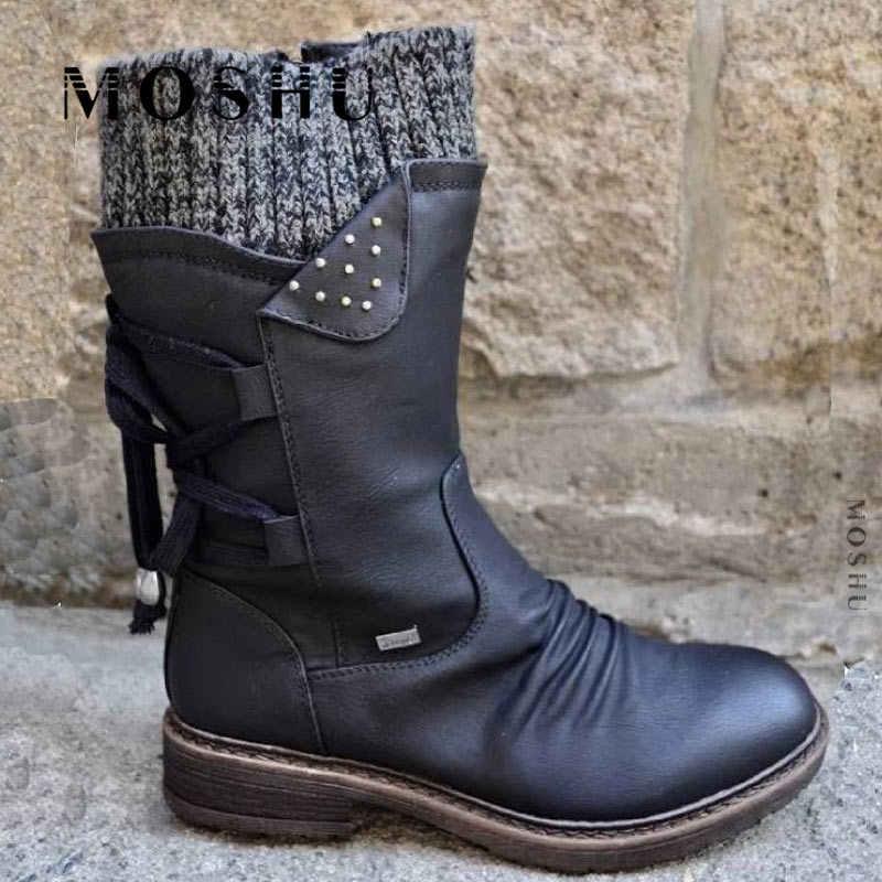 Kışlık botlar kadın tasarım kar botları Punk kadın ayakkabı dantel-up patik arka orta buzağı çizmeler sıcak Zapatos de Mujer
