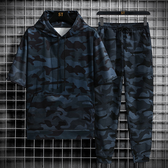 Spring Summer New Camouflage Men's Suit Sports Fitness Short Sleeve Hoodie+Trousers Men 2 Pieces Casual Outdoor Fashion Shorts 3