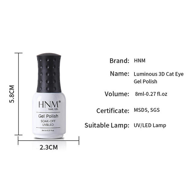 HNM 8ML Fluorescent 3D Cat Eye Gel Nail Polish UV LED Soak Off Fluorescent Varnish Primer Long Lasting Glow In Dark Gel Polish 5