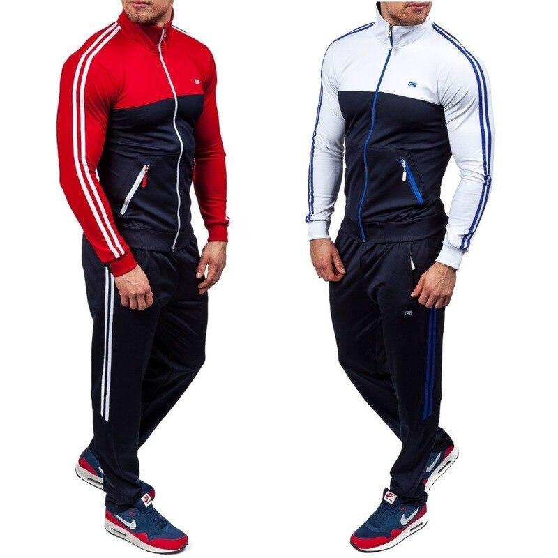 ZOGAA 2 개 세트 Tracksuit Men 가을 겨울 지퍼 스웨터 + 신축성 바지 남성 스트라이프 패치 워크 Slim Fit Cool Sweatsuit