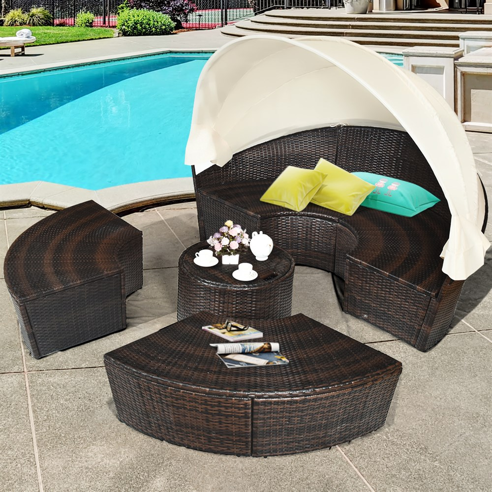 Costway Patio Rattan Daybed Cushioned Sofa Adjustable Table Top Canopy 3 Pillows