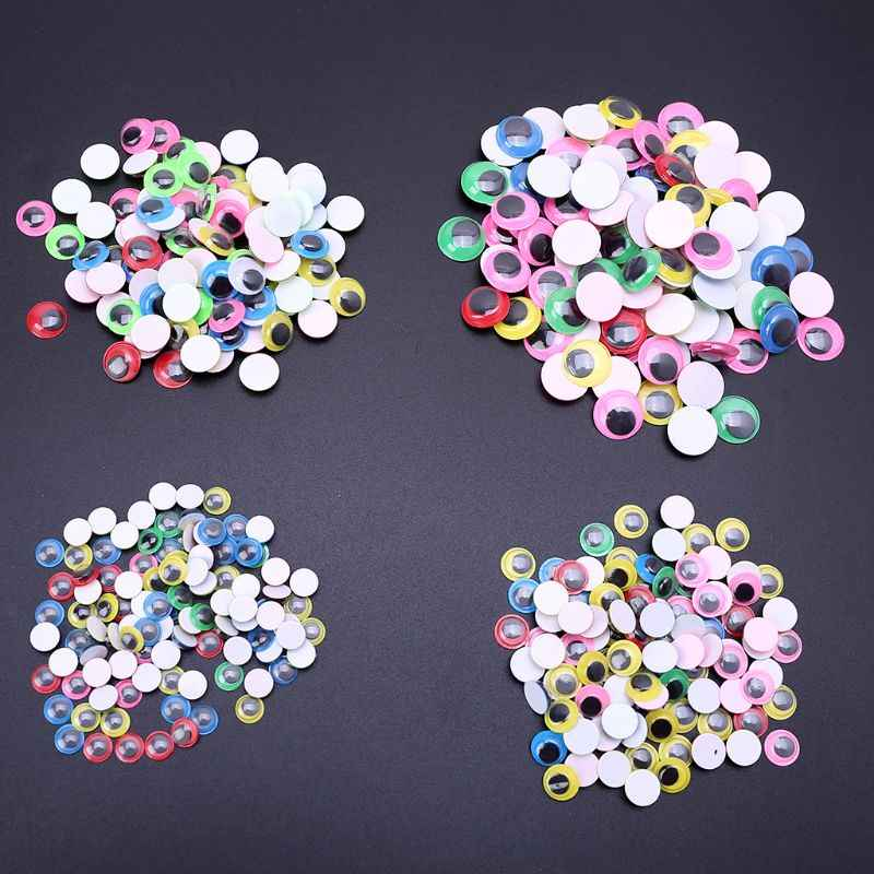 100pcs 8mm/10mm/12mm/15mm Mixed Color Self Adhesive Eyes for Doll Bear Stuffed Toys DIY Craft