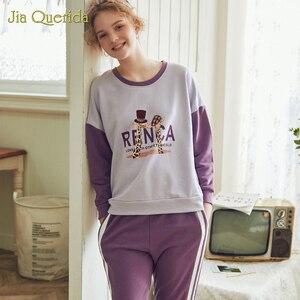 Image 4 - New Spring Pajama Set Cartoon Printing Plus Size Loungewear Women Crew Neck Pijamas Women Homesuit Homeclothes Pjs Women Pj Set
