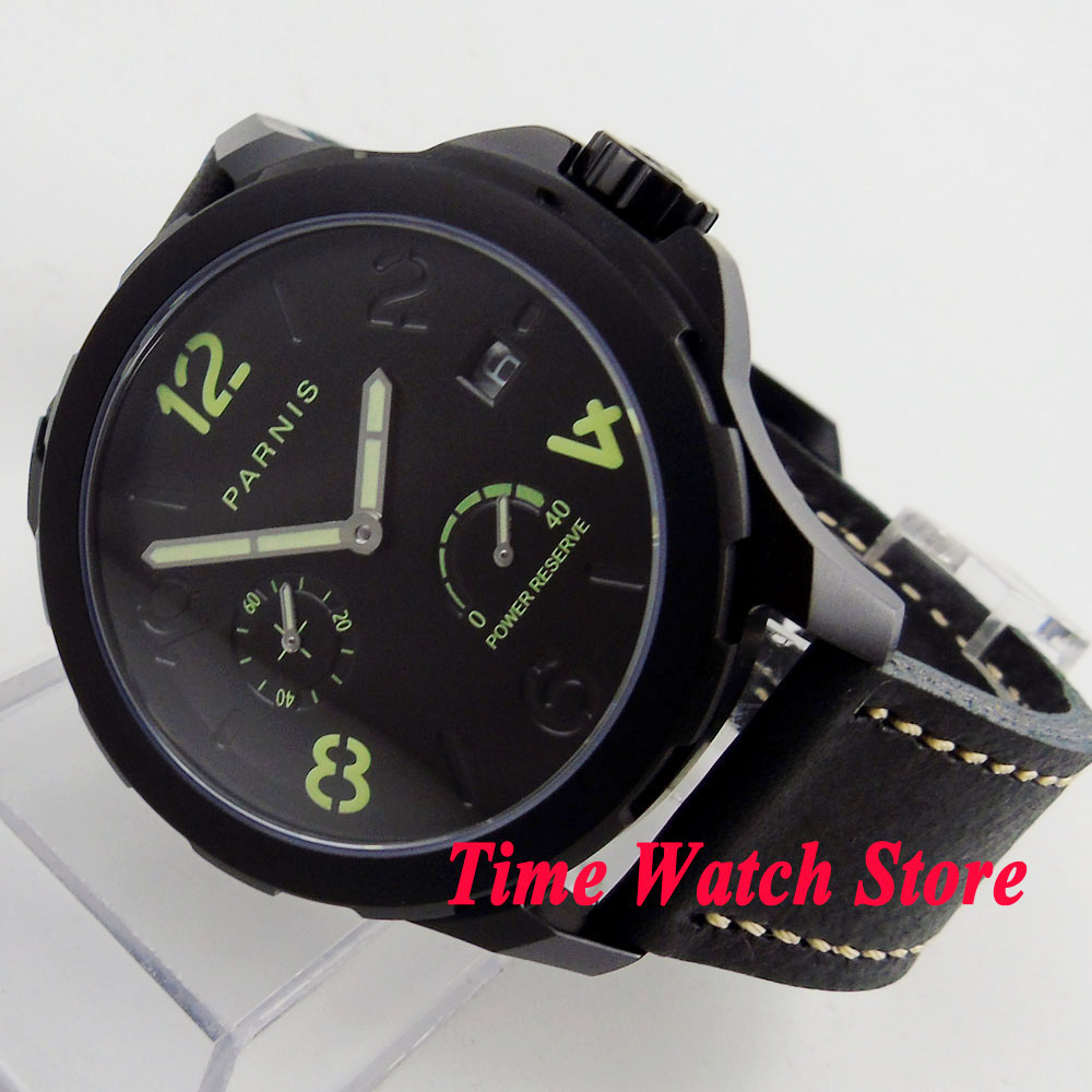 44mm Parnis <font><b>ST2530</b></font> automatic men's watch pvd case power reserve display sapphire glass luminous hands black image