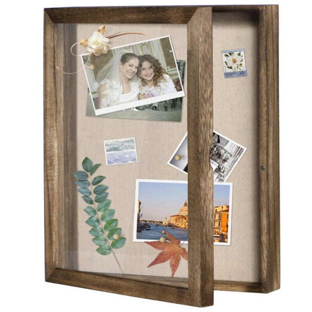Винтажная деревянная рамка с древесным углем, коробка для теней, дисплей, чехол, фоторамка для хранения, украшение для дома, фоторамка #10