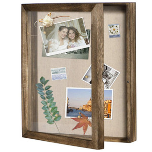 Vintage Charcoal Wooden Frame Shadow Box Display Case Diy Souvenir Photo Storage Box Home Decoration Photo Frame #10