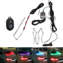 Car Rear Glass Decorative Warning Light Sound Music Control Auto Atmosphere Lamps Car RGB LED Strip Light Car Interior Lights