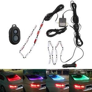 Image 1 - ضوء تحذير الزجاج الخلفي للسيارة ، مصباح شريط LED RGB مع التحكم في الموسيقى ، للجزء الداخلي للسيارة