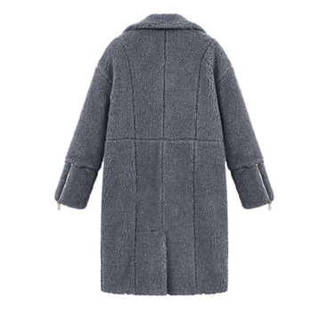 2019 autumn and winter new women's cotton jacket cashmere long-sleeved solid color long coat wool coat 3