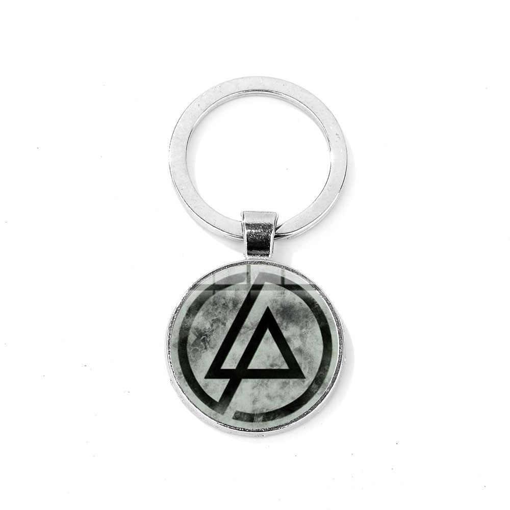 SINA popular Rock Linkin Park Band Logo llavero banda de música americana cabujón colgante de vidrio llavero hecho a mano Chapado en plata