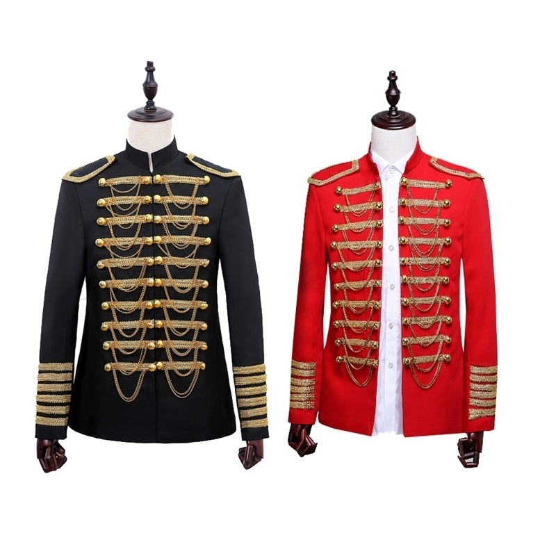 Mens Hussar Jacket Military Tops Uniform Artillery Tunic Drummer Steampunk Coats