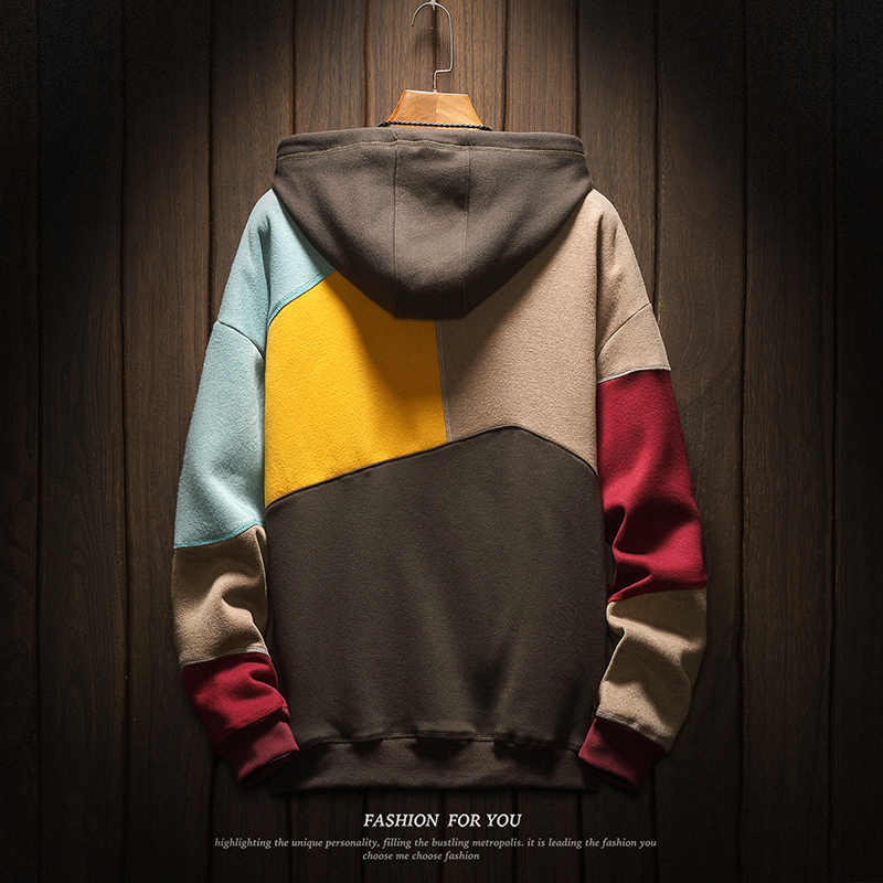 까마귀 남성 풀오버 남자 Colorblocked 최고의 품질 2019 새로운 패션 스웨터 망 패치 워크 일본 레트로 후드 후드