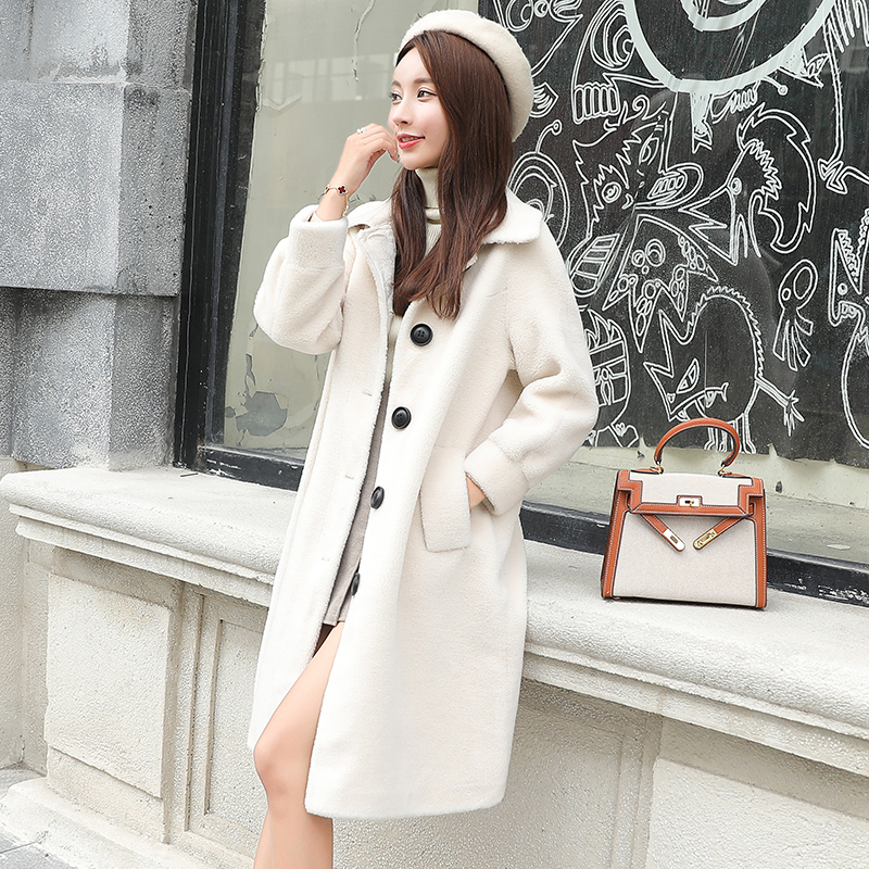 Fur Real Women's Coat Winter Clothes Women Korean Fall 2020 Long Jacket Sheep Shearing Coat Manteau Femme Hiver KJ1035