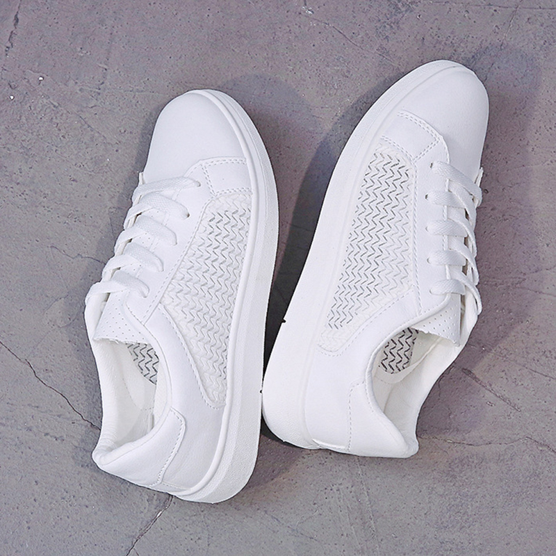 Sneakers Women Breathable Mesh Summer Autumn Women Causal Shoes Fashion White Leather Flat Walking Female Vulcanize Shoes VT1247 (2)