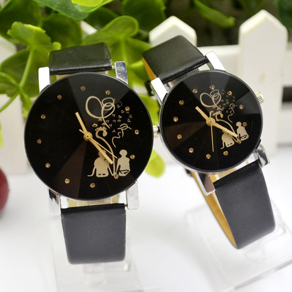 1 Pair Lover Couple Watches Back Rhinestone Faux Leather Analog Quartz Watch Relojes Feminino Wristwatch Male Relogio Feminino