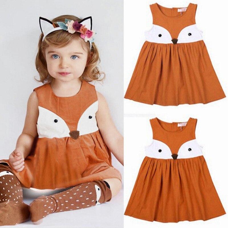 Kids Baby Girls Summer Dress Sleeveless Orange Cute Cartoon Back Zipper Fox Fancy Dress Princess Party Tulle Tutu Dresses(China)