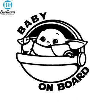 15x15cm Cartoon Yoda Baby Sticker BABY ON BOARD Car Stickers Fuel Tank Cap Motorcycle Accessories Decals